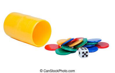 juego, Cubo, Corta en dados, amarillo,  ludo
