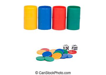 juego, cubos, dados,  ludo