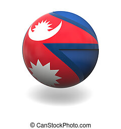 Nepalese flag - National flag of Nepal on sphere isolated on...