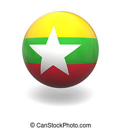 Myanmar flag - National flag of Myanmar on sphere isolated...