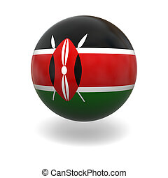 Kenyan flag - National flag of Kenya on sphere isolated on...