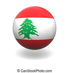 Lebanon flag - National flag of Lebanon on sphere isolated...