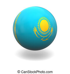 Kazakhstanian flag - National flag of Kazakhstan on sphere...