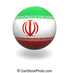 Iranian flag - National flag of Iran on sphere isolated on...
