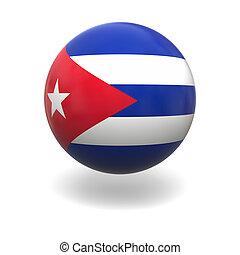 Cuban flag - National flag of Cuba on sphere isolated on...