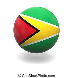 Guyanan flag - National flag of Guyana on sphere isolated on...