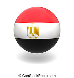 Egyptian flag - National flag of Egypt on sphere isolated on...