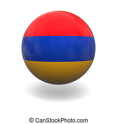 Armenian flag - National flag of Armenia on sphere isolated...