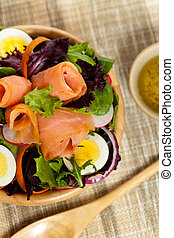 Smoked Salmon Salad - Smoked salmon salad with red onion,...