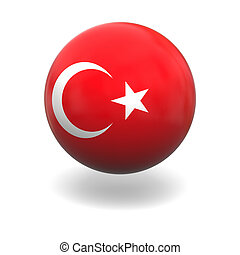 Turkish flag - National flag of Turkey on sphere isolated on...