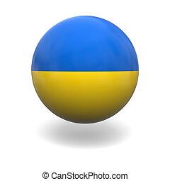 Ukraine flag - National flag of Ukraine on sphere isolated...