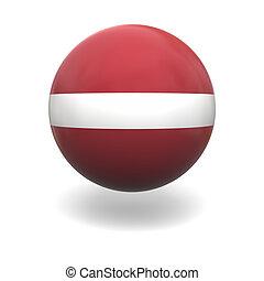 Latvian flag - National flag of Latvia on sphere isolated on...