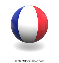 French flag - National flag of France on sphere isolated on...