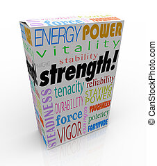 Strength word on a product package or box to illustrate the...