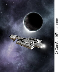 Dark World Spaceship - Science fiction spaceship passing a...