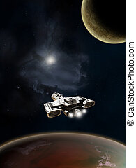 Deep Space Spaceship - Science fiction spaceship above a red...