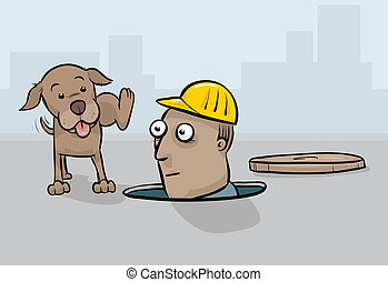 Dog Peeing on Worker - A cartoon dog lifting his leg to pee...