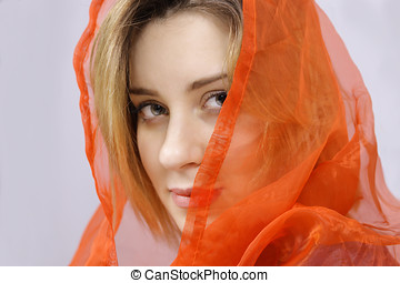 Woman in scarf - Lovely woman with silk scarf, face closeup