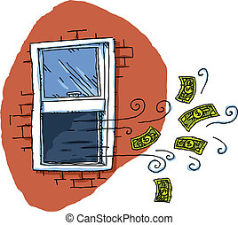 Money Out the Window - Cartoon cash money blows out of an...