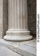 Stone column - A sinlge white stone column with groves and...