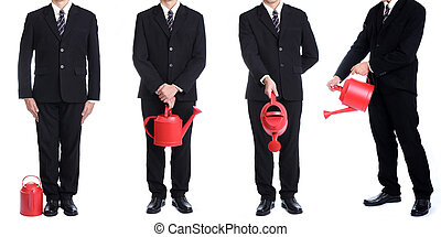 Businessman hold red watering pot for invest concept