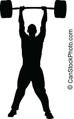 Weight Lifting Success - A silhouette of a man lifting...