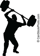 Weight Lifting Struggle - A silhouette of a man struggling...