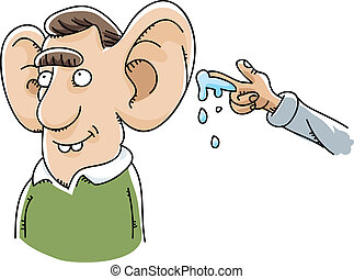 Giant Ear Wet Willy - A cartoon had prepares to give a wet...