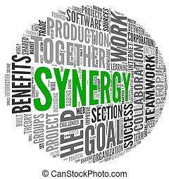 sinergia, concepto, palabra, nube, etiqueta