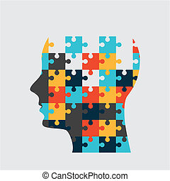 head puzzle over white background vector illustration