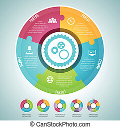 Circle Puzzle Infographic Elements - Vector illustration of...