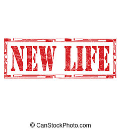 New Life-stamp - Grunge rubber stamp with text New...