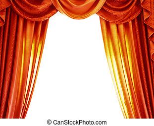 Luxury orange curtains isolated on white background,...