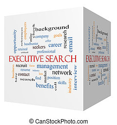 Executive Search 3D cube Word Cloud Concept with great terms...