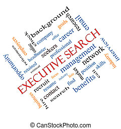 Executive Search Word Cloud Concept Angled - Executive...