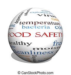alimento, seguridad, 3D, esfera, palabra, nube, concepto