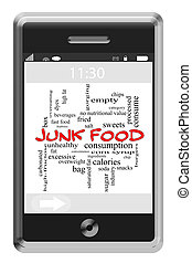 Junk Food Word Cloud Concept on Touchscreen Phone - Junk...