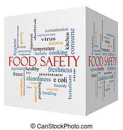 alimento, seguridad, 3D, Cubo, palabra, nube, concepto