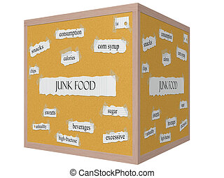Junk Food 3D cube Corkboard Word Concept with great terms...