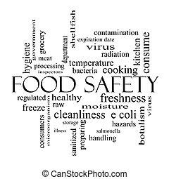 alimento, seguridad, palabra, nube, concepto, negro, blanco