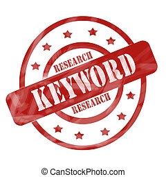 Red Weathered Keyword Research Stamp Circles and Stars - A...