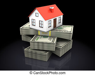 house and money - 3d illustration of house model on money...