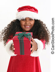 Christmas Girl - Beautiful five year old African American...