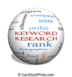 Keyword Research 3D sphere Word Cloud Concept with great...