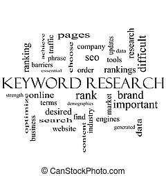 Keyword Research Word Cloud Concept in black and white with...