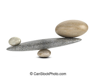 3d Impossible balance - 3d render of unequal stones...