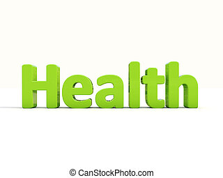 3d word health - Word health icon on a white background. 3D...