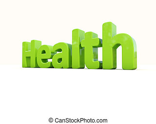 3d word health - Word health icon on a white background 3D...