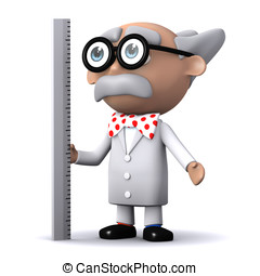 3d Scientist ruler - 3d render of a scientist using a ruler