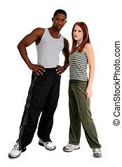 atractivo, interracial, pareja